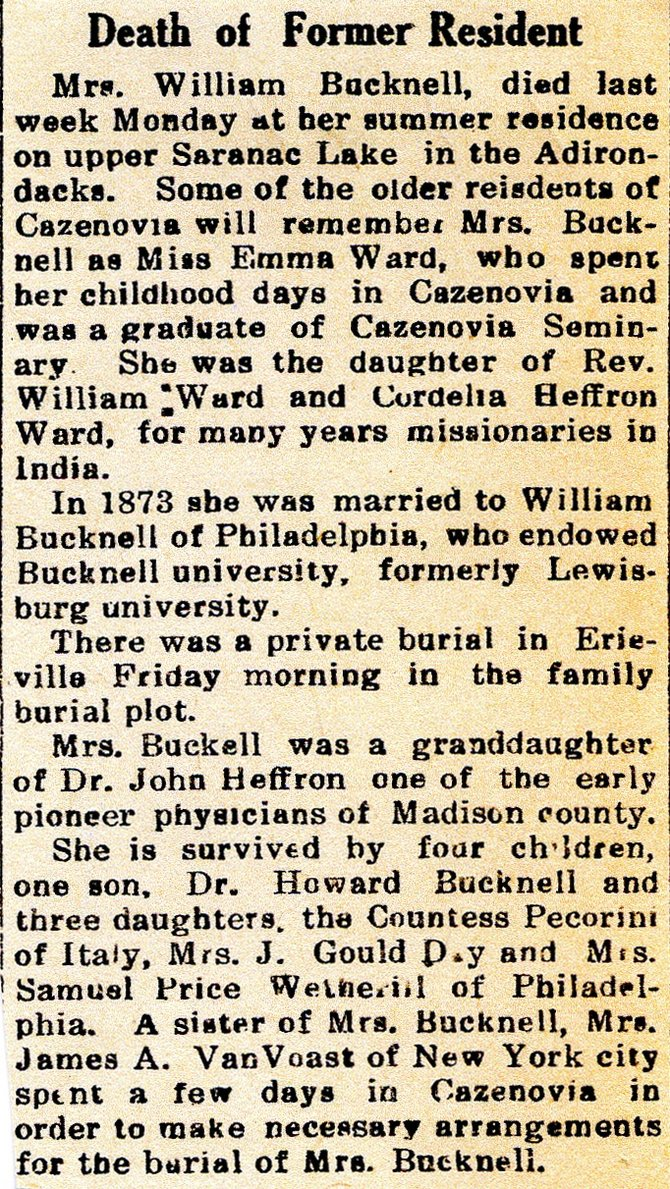 This obituary for Emma Ward Bucknell was run in a 1927 issue of the Cazenovia Republican.