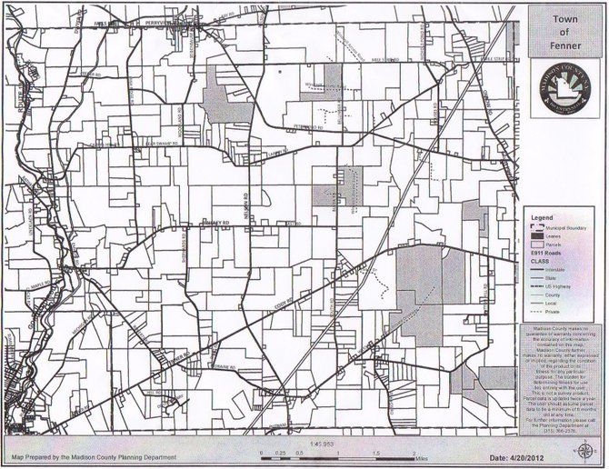 A map of gas leases currently located within the town of Fenner.