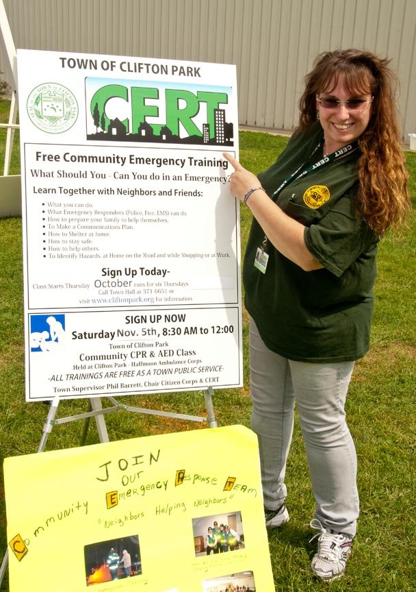 Clifton Park CERT volunteer Tamar Duval setting up for a community event. Photo Submitted.