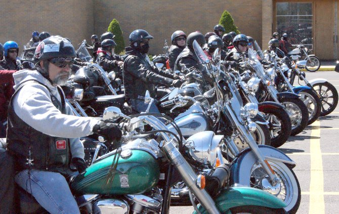 An estimated 400 bikes participated in the annual blessing at St. Daniel's church on Court Street.