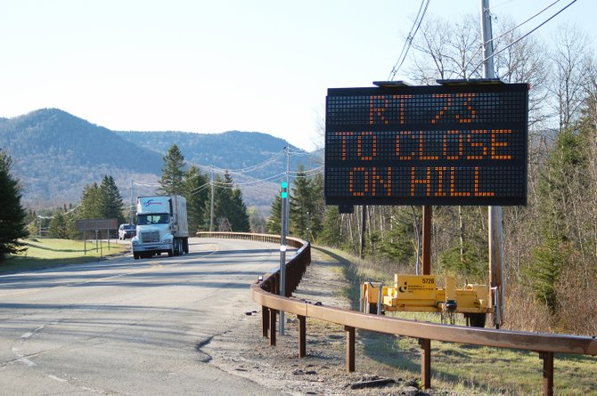 Motorists will encounter signs like this near the Cascade Lakes on State Route 73 for two weeks.