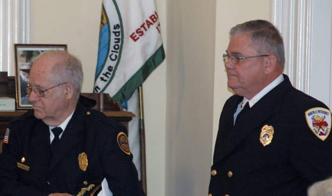 Moriah Fire Chief Ralph Jaquish and Mineville/Witherbee Chief Paul Tromblee were honored for their service at the May 7 meeting of the Essex County Board of Supervisors.