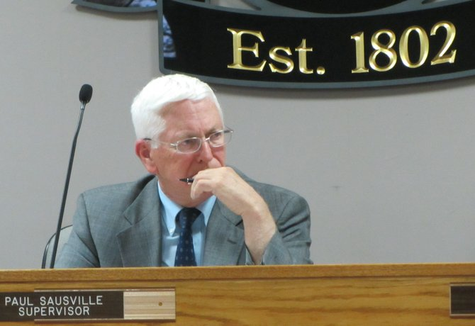 Town Supervisor Paul Sausville listens to concerns at Malta's Town Board meeting on Monday, May 7.