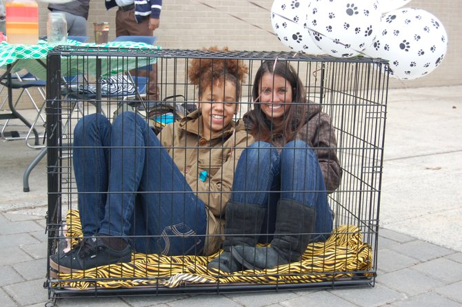 Cassandra Thomas (left) and Sarah Donlan sit in a cage at Plattsburgh State to raise money for, and awareness of, the Adirondack Humane Society.