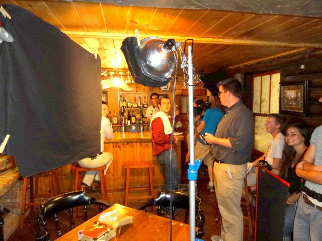 "Indie filmmakers shoot a scene for ""Approaching Normal"" Monday, May 21 at the Garnet Hill Lodge in North River."