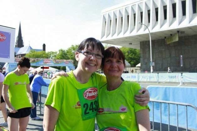 Mary Lee Smaldone, (left) and her sister Lori Noel at the Freihofer's Run for Women last year. Noel died of brain cancer in February, and Smaldone will be running in her memory in this year's race on June 2. Photo Submitted.