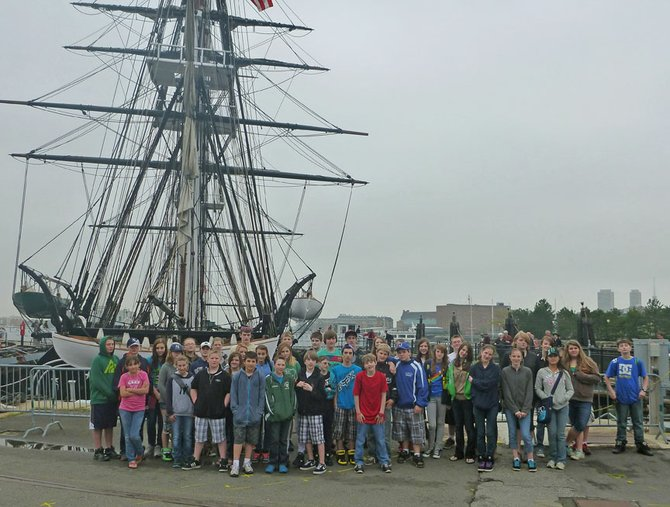 Travel Club members from the North Creek area pose for a picture in Boston.