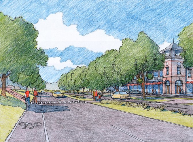 An artist&#39;s rendering of Clifton Country Road in Clifton Park, if proposed walkabilitly measures are implemented.