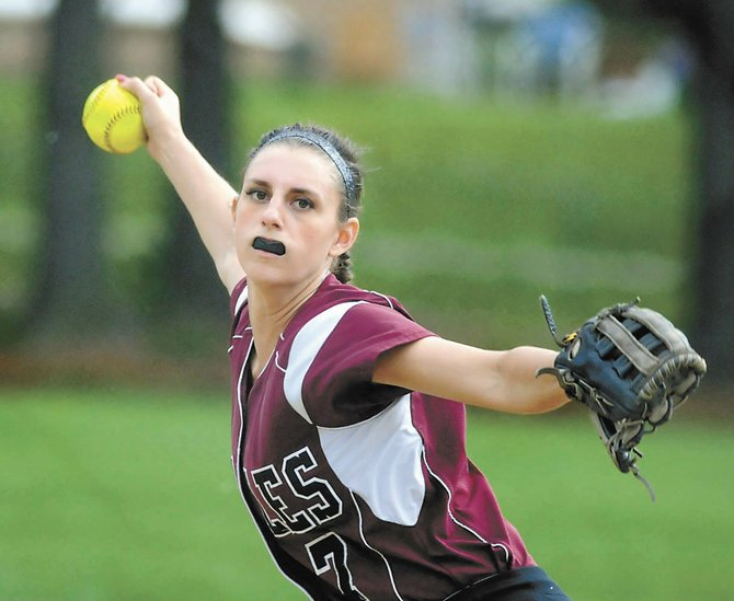 Loudonville Christian pitcher Alexis Rollis delivers to the plate during last Friday's Section II Class D quarterfinal game against Sharon Springs in Loudonville.