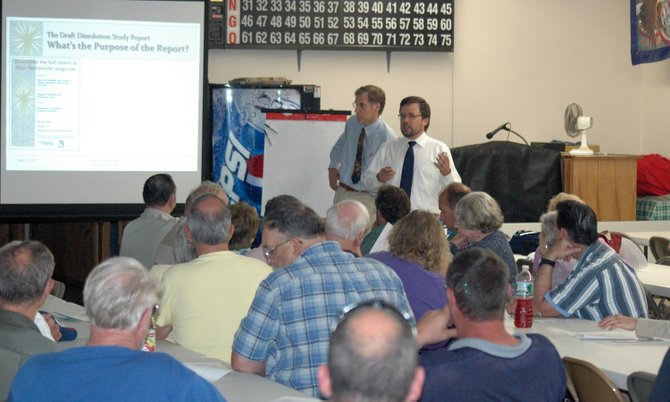 Peter Fairweather and Tim Weidemann present findings during the Keeseville Dissolution Committee public hearing May 23.