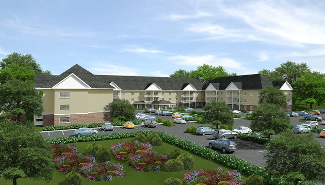 An artist rendering of the proposed new Glenwyck Manor, which would be located at the corner of Dutch Meadows Lane and Route 5 in Glenville.