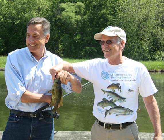 Vermont Gov. Peter Shumlin and Congressman Peters Welch show off their big Lake Champlain catch.