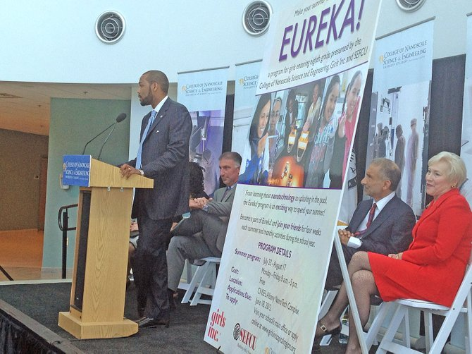"At an unveiling at the College of Nanoscale Science and Engineering on Friday, June 1, Lonnie Threatte, assistant secretary for higher education for Gov. Andrew Cuomo, said the new Eureka! program will ""make the state greater"" and said the collaboration between Girls Inc., CNSE  and SEFCU will bridge education, industry and the community."