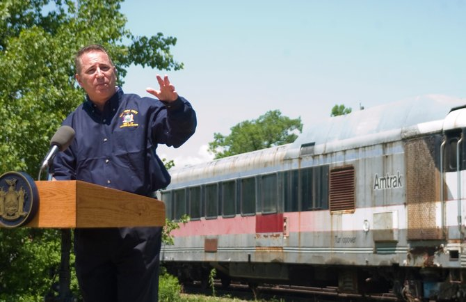 Director of State Operations Howard Glaser on Thursday, May 31, at the Glenville Business and Technology Park announced the state is going to sell five trains from a failed high-speed rail project. The five trains have sat in Glenville since 2004, which the state has paid around $150,000 annually for storage.