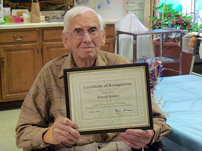 Donald Roblee, of North Creek, turned 100 years old on Saturday, June 2