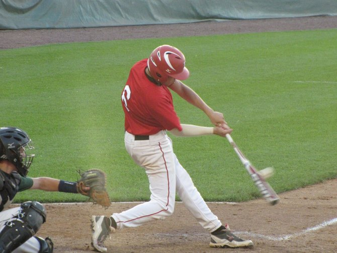Baldwinsville senior Connor Martin (6), seen here in the team's Section III Class AA final win over Fayetteville-Manlius, would have a hit and score the tying run in Saturday's state Class AA semifinal against Victor, which the Bees eventually lost to the Blue Devils 5-4.