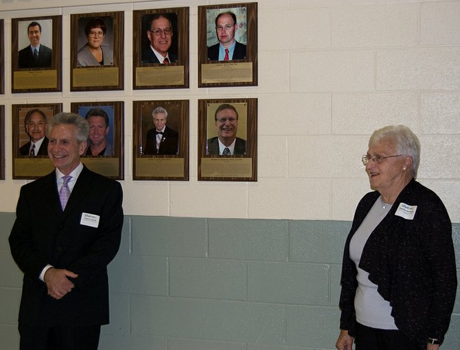 Frank Gesek, left, and Thomas Kernozek's mother, Martha, on Wednesday, June 6, unveiled the plaques for Schalmont's 2012 Wall of Distinction honoring  Gesek and Thomas Kernozek.