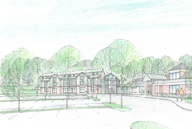 A rendering of the proposed Guilderland Public Library expansion.