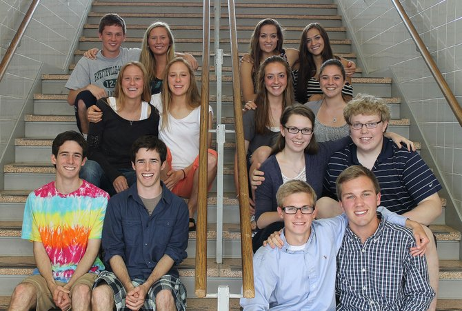 Bottom row, from the left, Harry and Teddy Rube and Sawyer and Casey Konys. Second row, from the left, Kathleen and Christopher Winschel. Third row, from the left, Charlotte and Arianna Beers and Mary and Hannah Bucklin. Top row, from the left, Matt and Sarah Wells and Erin and Shannon DaRin.