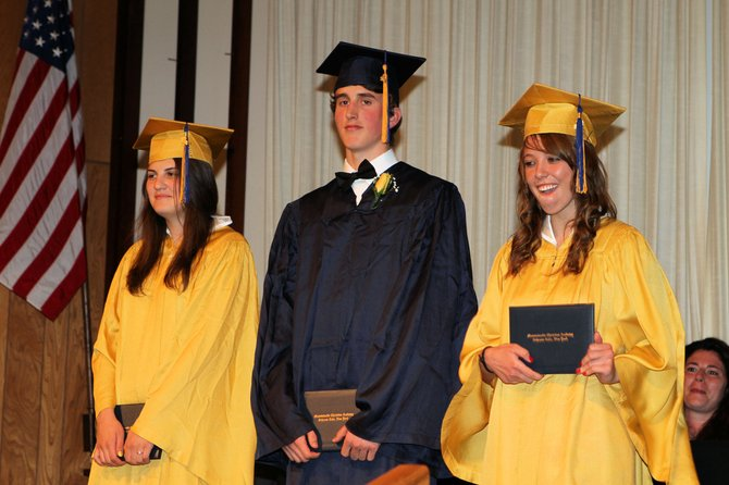 Sarah Cruickshank, Duncan Sabatini and  Katherine Joseph graduated from Mountainside Christian Academy during commencement exercises June 9.