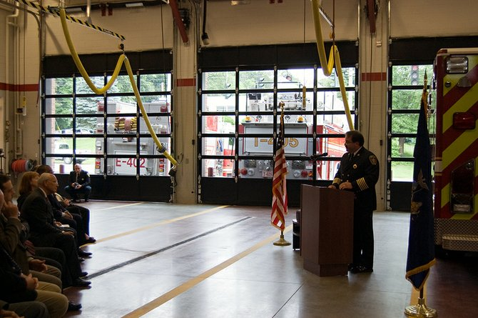 Chief Dale Lingenfelter on Saturday, June 9, thanked supporters during the fire company's dedication ceremony.