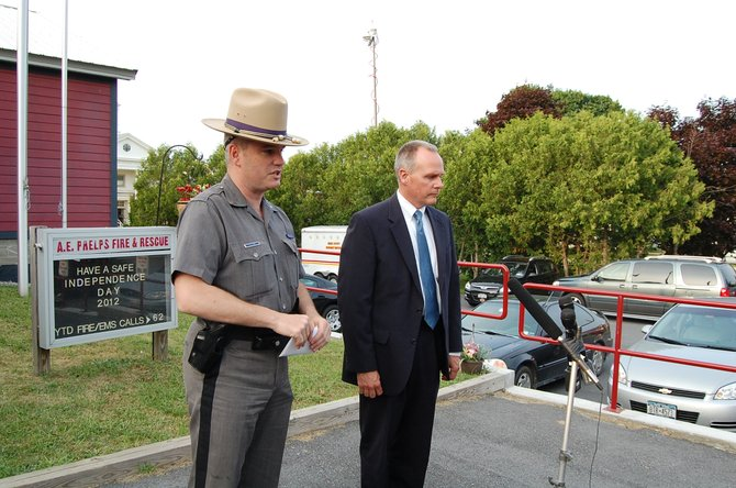 State Police Bureau of Criminal Investigation Capt. Robert Lafountain and Assistant Zone Commander  Patrick Ryan for the New York State Police hold a press conference at the Crown Point Fire House on June 19.