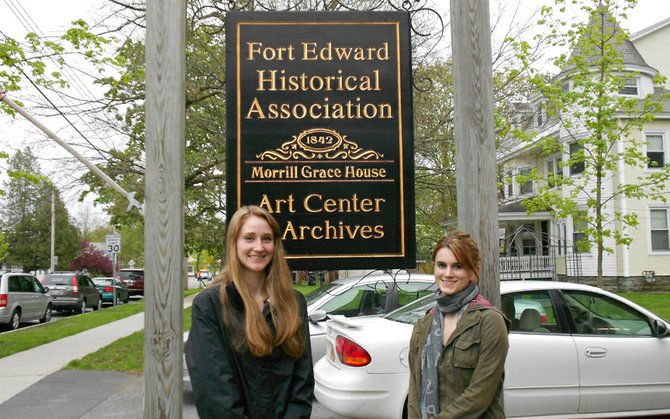 Jillian Urbonowicz, left, and Chelsea Gazaille recently participated in an art portfolio competition in Fort Edward and attended a May 2 reception at the Fort Edward Art Center in the Fort Edward Historical Building.