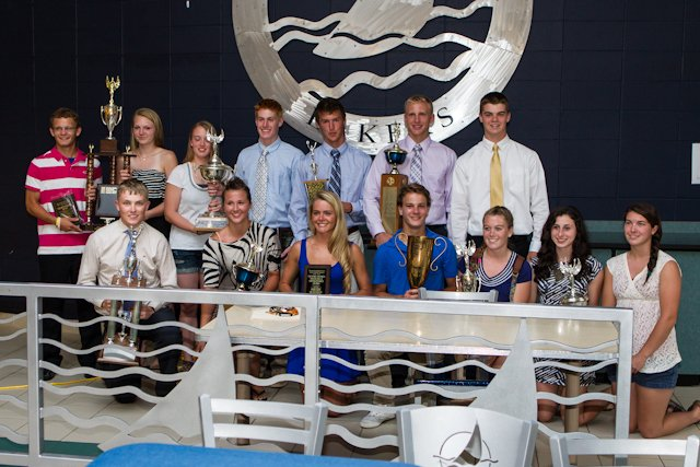 Skaneateles High School seniors who were honored with athletic awards last Wednesday night at the High School cafeteria for their work on and off the field Front row, from left; :  Jimmy Atkinson, Kaela Fiutak, Shelby McNeilly, Sam Goodell, Emily Call, Erin Tonzi, Chelsea Hamilton. Back row:  Tyler Nodine-Saunders, Shannon Byrne. Jackie Leslie, Brendan Major, Trevor Diamond, Brandon Barron, Ryan Sherman. Not pictured: Max Johnson, Carly Davis