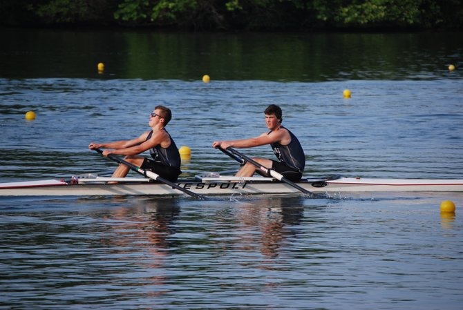 Cazenovia Rowing Club's 2011 varsity rowing team members Elan Schoonmaker and Corey Anderson are shown competing at the Club Nationals in Oak Ridge Tennessee last May.