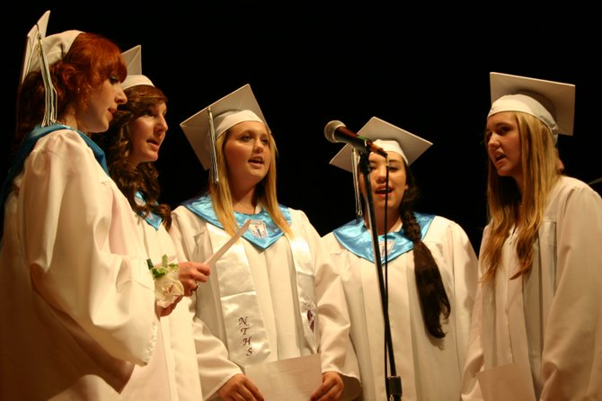 Singing strains of Time of My Life during Bolton High School commencement ceremonies Friday were graduating Seniors Julianne ODonnell, Sierra Detrick, Courtney Kincaid, and Kaitlin Dimick.