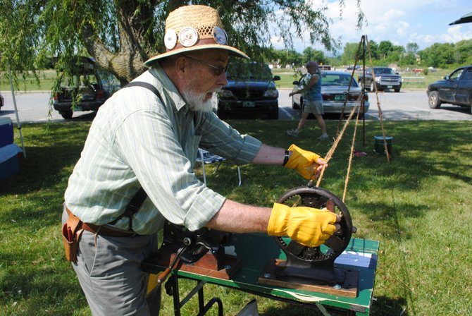 Art Blair of Crankey Yankee Twyne, based in Burlington, provided 19th century rope-making demonstration at Ferrisburgh's 250th birthday bash.