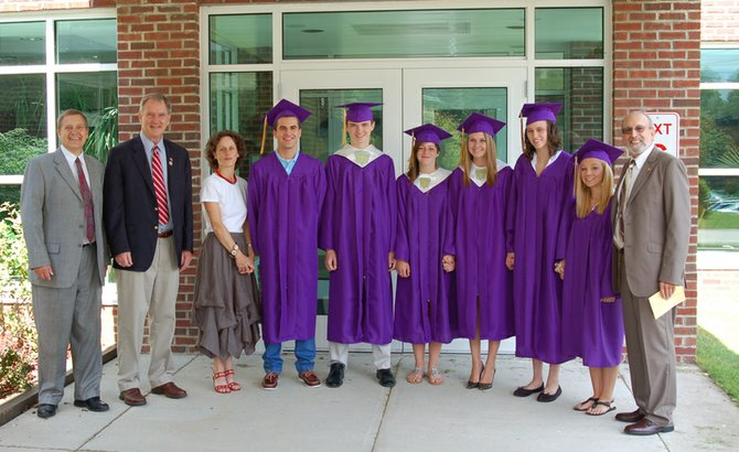 The six seniors graduating from Newcomb Central School met guest speaker Congressman Bill Owens (D-Plattsburgh) before the commencement ceremony June 23. From left are Newcomb Central School Superintendent Skip Hults, Owens, Senior Class Advisor Martha Swan, Taylor Goodspeed, Morgan Winslow, valedictorian Marlena Peter, salutatorian Rebecca Bolan, Renna Yandon, Caelan Gould and School Board President Steve Frieman.