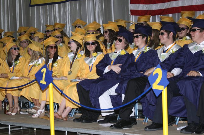 OUR FUTURE'S SO BRIGHT... Basking in the spotlight due to their achievements, Warrensburg High School's soon-to-be-graduates don shades to reduce the glare shortly before receiving their diplomas.
