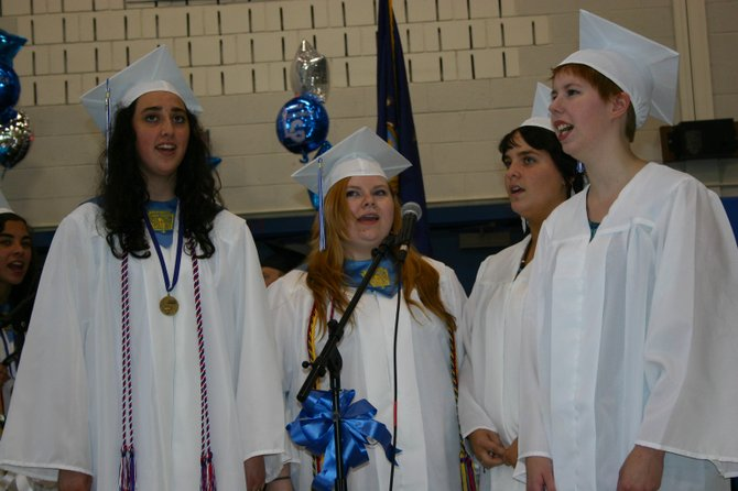 "Among the graduates-to-be singing  Phil Collins' ""On My Way during Lake George High School commencement ceremonies Saturday June 23, are (left to right): Hayley Humiston, Melissa Tenne, Hannah  Pliscofsky and Hope Dane."