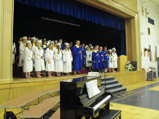 The 35 seniors in Johnsburg Central School's  Class of 2012 attend the commencement ceremony June 23 in the cafetorium.