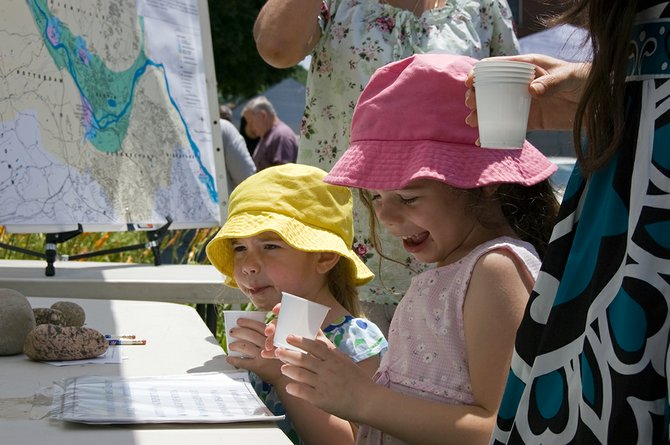 A couple of young water testers wet their palate during the annual Best Tasting Drinking Water in Schenectady County contest on Thursday, June 28, at the downtown famers market. Talya Stashower, right, exclaims she likes the water sample, as her sister, Mira, tastes a sample.