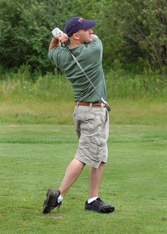 James Gruening taking a solid swing at golf. Gruening suffered severe injuries to his entire body in an explosion while serving in Afghanistan. He was told he would never walk again, let alone play golf. He is always in pain, but golf keeps him going. Submitted photo. 