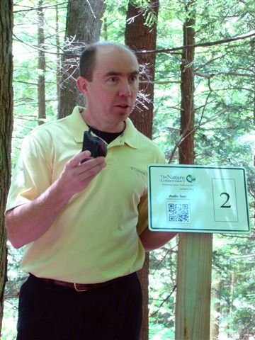 Troy Weldy, director of Ecological Management for the Conservancy, leads an audio tour at the Lisha Kill Nature Preserve in Niskayuna.