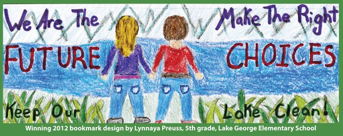 Winning a contest for her efforts, Lake George Elementary fifth-grader Lynnaya Preuss designed this bookmark promoting protection of Lake George's water quality.