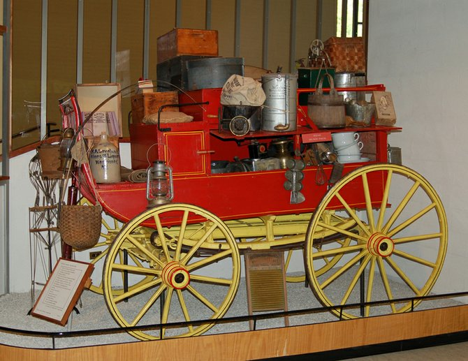 This peddler’s wagon was used near Piseco Lake in Hamilton County. It is an audio tour stop.