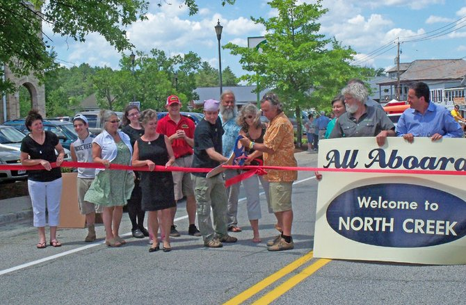 Cutting the ribbon on Main Street in North Creek on June 30