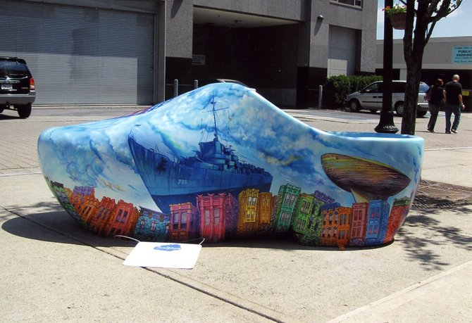 A 7-foot clog depicting the Albany skyline with some of its key landmarks was designed and painted by Tony Iadicicco and Gutman Black for the Downtown Albany Business Improvement District's annual Sculpture in the Streets exhibition.