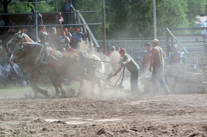 The horse pull on July 15 is one of the many events at Woodsmens Days, along with the night games and lumberjack events.