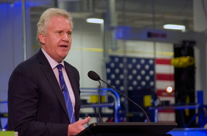 General Electric Company Chairman and CEO Jeffrey Immelt speaks to business and community leaders, politicians and company employees during the grand opening of its new battery facility on Tuesday, July 10.