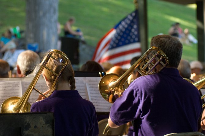 Trombonists of the Honeoye Falls Community Concert Band perform during the 2011 edition of the Lake George Festival of Community Bands.