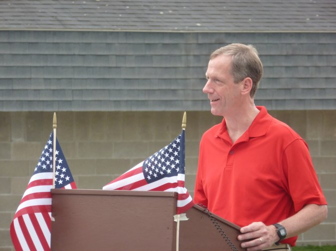 Bethlehem Supervisor John Clarkson introduces those reading the Declaration of Independence to open the annual Family Day community event held at Elm Avenue Park.