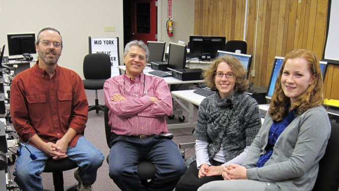 Broadband Technology Opportunity Program instructors Fritz Meeusen, left, Kevin Perez, Jennifer Recht, and Kathryn McCauley will offer several free computer classes  at the Cazenovia Public Library during July, August and September.