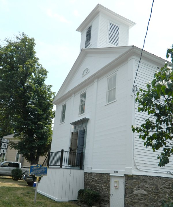 Borodino Hall, located the four corners of Borodino, is nearly 200 years-old and has been undergoing renovations since 1997. Recently, it received a new paint job paid for by an anonymous donor.