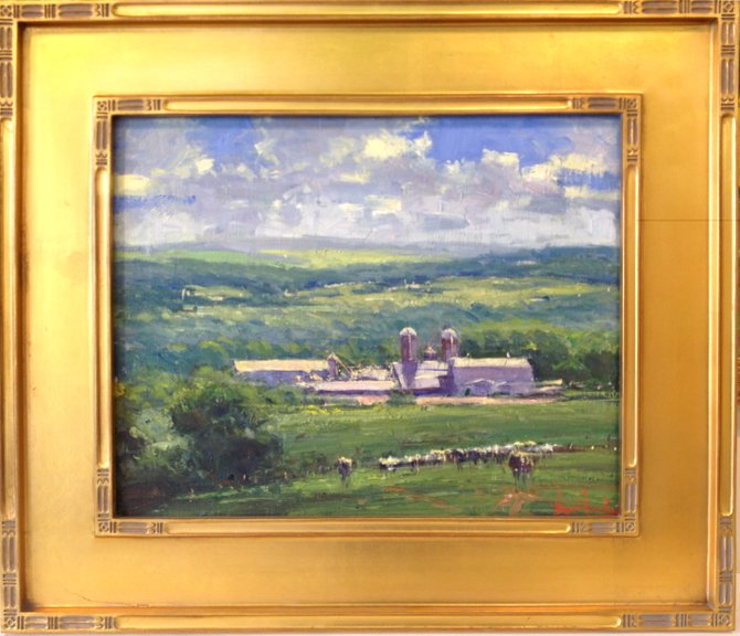 """George Van Hook's 16x20, oil on linen painting, """"From Maple Road."""" Art enthusiasts hoping to own a Van Hook original can purchase raffle tickets for $10 at Stone Quarry Hill Art Park or The Gallery of CNY in Cazenovia until July 30."""