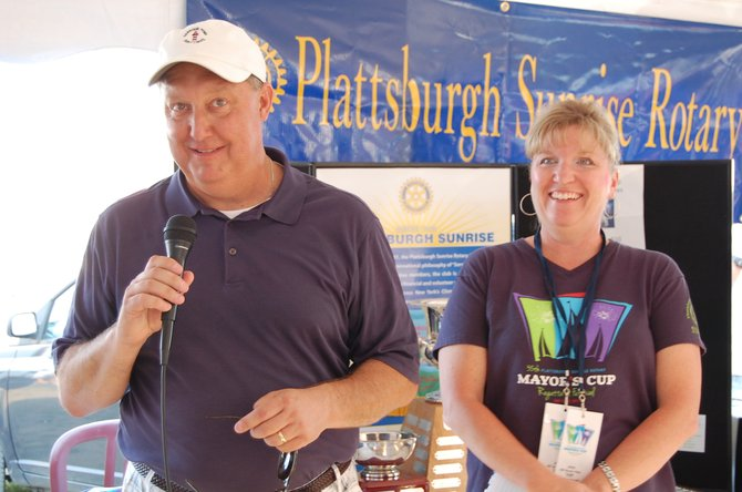 Mayor Donald Kasprazak and Sue Durocher welcome guests to the award ceremony on July 14 at the Naked Turtle.